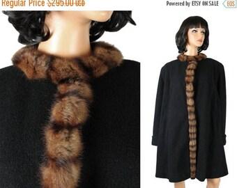 ON SALE Vintage Princess Coat Sz XXL 2X 50s Black Wool Brown Fur Trim Swing Jacket Plus Free Us Shipping