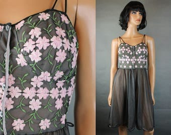 50s Nightgown Sz 30 XS Vintage Black Pink Sheer Chiffon Embroidered Sleeveless Free US Shipping