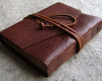 "Leather journal, 4"" x 6"", rustic brown, vintage style diary, leather sketchbook (1908)"