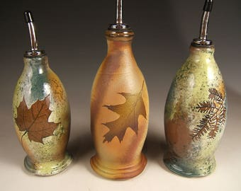 oil and vinegar dispenser, leaf impressions, nature themed READY TO SHIP cruet