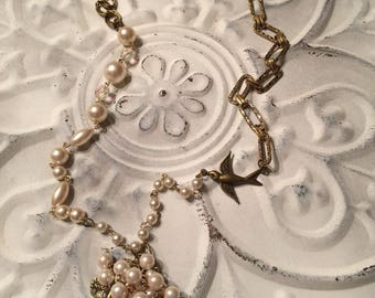Recycled pearl and chain necklace, romantic, Victorian, antique gold
