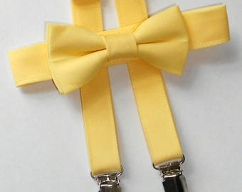 Light Yellow Bowtie and Suspender Set - Infant, Toddler, Boy               2 weeks before shipping