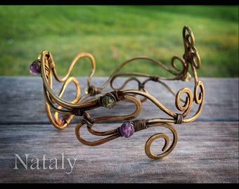 Wire Wrapped Gemstone Bracelet | Wife Amethyst Gift | Amethyst Bracelet for Women | Adjustable Bracelet | Peridot & Amethyst Cuff Bracelet