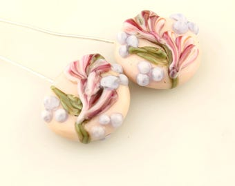 Lampwork Glass Bead Head Pins  Headpin Floral on Fine Silver Wire, Pink,  Lavender,  Flowers