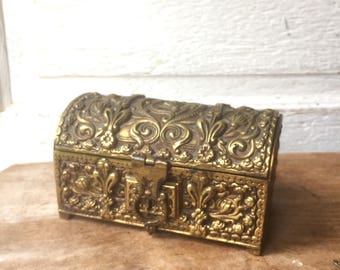 Ornate Antique Brass Box with Key