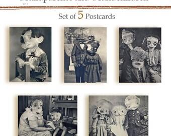 Grandparents and grandchildren -Set of 5  Halloween Postcards - monsters zombie garlic skull pumpkin frankenstein  freak vampire scarecrow