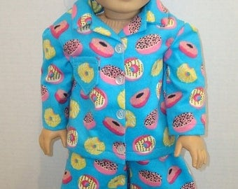 "ON SALE 18 inch doll clothes, Fits 18"" American girl doll, Pajamas, Ready to ship, AG Doll, Flannel, On Sale, Donuts,"