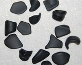 Black Faux Sea Glass recycled glass (15 pieces)