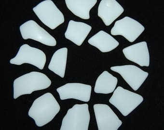 White Faux Sea Glass recycled glass (18 pieces)