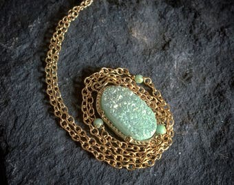 Oval Mint Blue Druzy Necklace