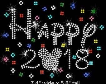 SALE Mickey Mouse Happy New Year 2018 Disney iron on rhinestone transfer applique patch