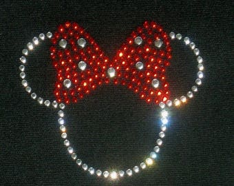 """SALE Small 2.5"""" clear/red Minnie Mouse iron on rhinestone Tiny transfer for Disney t shirt or costume"""