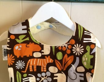 On Sale Zoo - Infant or Toddler Bib - Terry Cloth Backing - Reversible with ADJUSTABLE Snaps