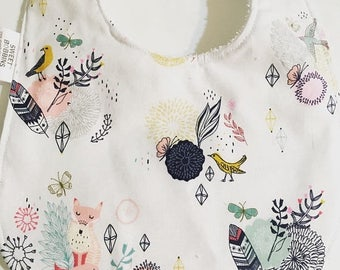 On Sale Foxes and Feathers - Infant or Toddler Bib - Terry Cloth Backing - Reversible with ADJUSTABLE Snaps