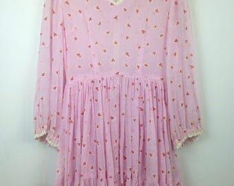 Vintage 60s 70s Hearts Dress Ruffles Grunge Mod Prairie Mod Hippie Prom Sheer Lolita Pink Long Sleeve Dolly
