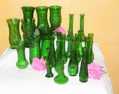 25 Vintage Green Glass Coordinating Vases