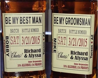 Private Listing for idoerikfchristensen Be My Best Man - Custom Wedding Party and Groomsman Liquor Labels Bourbon Whiskey Best Man