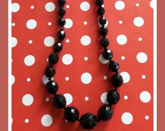 Vintage 1950's Jet Black Faceted Beads Restrung in Single Necklace Strand!