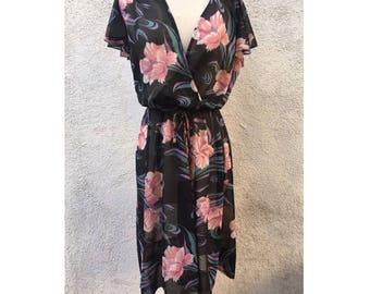 Vintage sheer 70's poly floral print dress sz. M