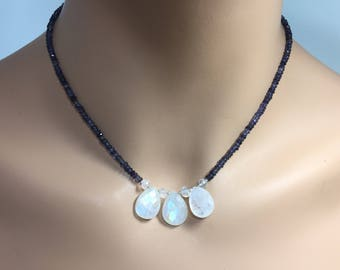 Iolite Rondelle Necklace with Rainbow Moonstone Briolettes