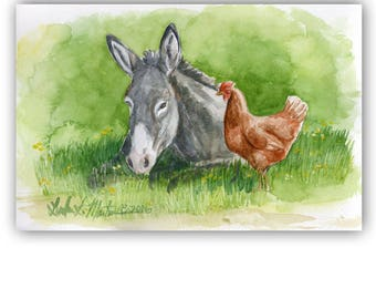 Fun Friends Donkey Red Hen Chicken  LLMartin Original Watercolor Painting  Country Gray Burro  Free First Class Shipping USA