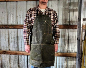 Cross Back Waxed Canvas Apron with Leather Straps and Nickel Hardware