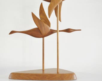 Vintage Flying Geese Wooden Abstract Sculpture