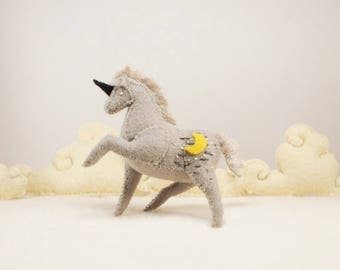 Miniature Stuffed Unicorn - White Moon - Tiny embroidered Felt Stuffed Animal