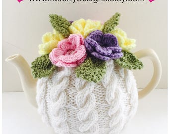 Hand knitted Cabled Floral Tea Cosy in Pure Wool - Size Medium - fits standard 6-cup teapots