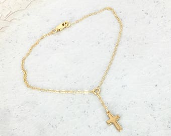 Gold Y lariat cross bracelet - Long Gold lariat bracelet - Layering bracelet - Gold filled lariat bracelet with tiny gold cross - WM113