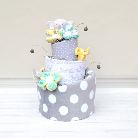 Elephant Baby Shower Centerpiece in Gray Mint Yellow for Elephant Theme Baby Shower Decoration, Neutral Elephant Shower Cake, Diaper Cake