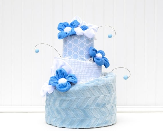 Baby Boy Diaper Cake Classic Blue Baby Shower Decorations Modern