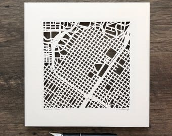 Houston, Dallas, San Antonio, Fort Worth , or San Marcos hand cut map, 10x10