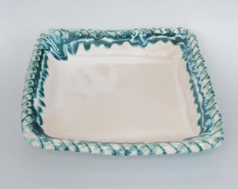 Unique Footed Serving Bowl - Ceramic Serving Bowl - Stoneware Bowl - White Serving Bowl - Square Pottery  Bowl - Great Hostess Gift