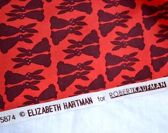 Fabric - Purple Bunny Rabbits on Red - Hartman Kaufman - By the Yard