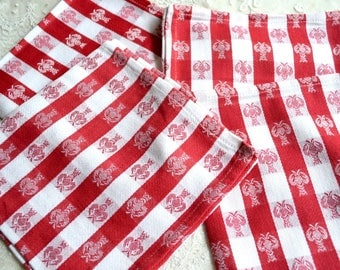 Vintage Cotton Napkins - Lobsters on Red and White Gingham Check - 4 NOS