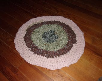 """RAG RUG #2, 23"""" Dia, Crochet, Scrappy Colors, USA, Prim, Primative, Farm House, Cottage, Lodge, Ranch, Country, Round, Appalachian Made"""