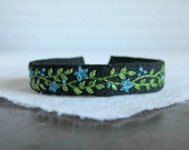 Teal Green and Black Cuff Bracelet - Hand Embroidered Linen Cuff Bracelet
