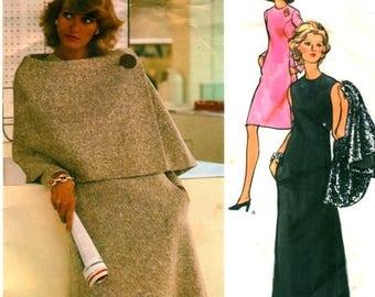 Sale:) UNCUT * Vogue Couturier design Pattern 2739 - FABULOUS Sybil Connolly Evening Dress and Asymmetrical Cape - 3 Sizes available