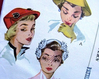 Sale:) UNCUT * 1950's  McCall's Pattern 1664 - -  Women's and Misses' High Fashion Hats in 3 Styles  -- Head Size 22