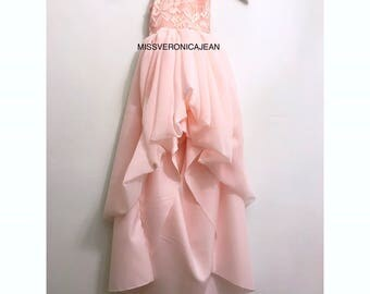 Pastel blush pink ruffle dress pastel bohemian layered rustic dress boho flower girl junior bridesmaid toddler maxi high low