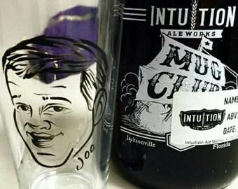 Custom Groomsmen Gifts - Groomsman Gifts - Set of 3 - Groomsmen Gift - Vintage Style - Caricature Beer Glass- Hand Painted Beer Glass