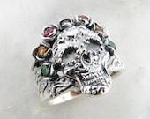 Sugar Skull Calavera Ring, Crown of Gemstones sterling silver