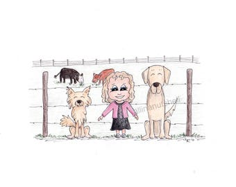 Custom Hand Drawn Caricature Kids and Pets