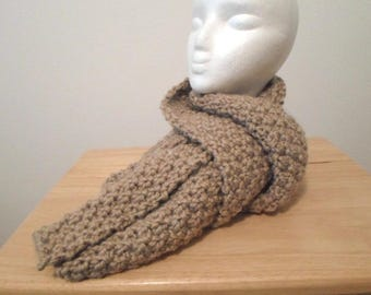 Long Shawl - Handknitted Long Shawl for Men or Women or Children in a Light Brown / Dark Beige Acrylic Yarn