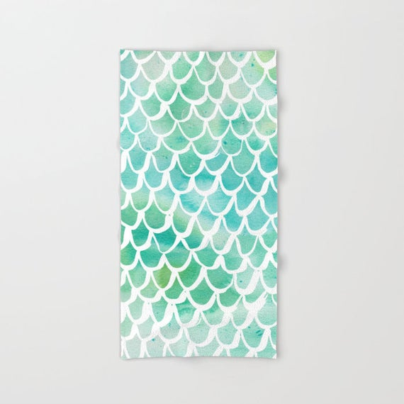 Aqua Mermaid towel - Aqua hand towel - Mermaid beach towel - Watercolor hand towel - Aqua bath towel - Watercolor beach towel