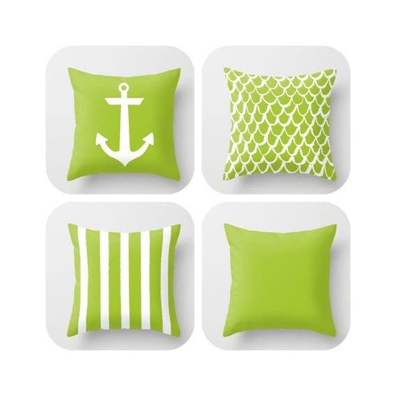 OUTDOOR Throw Pillow - Lime Mermaid Pillow - Coastal Patio Cushion - Anchor Pillow - Stripe Pillow - 16 18 20 inch  Green Outside Pillow