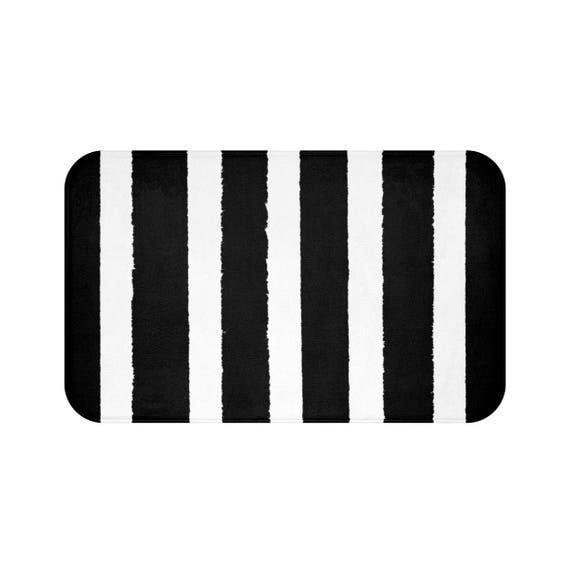 Bath Mat . Black and White Bath Mat . Striped Bath Mat . Bath Rug . Shower Mat . Black Rug . Geometric Rug . Black and White Striped Rug