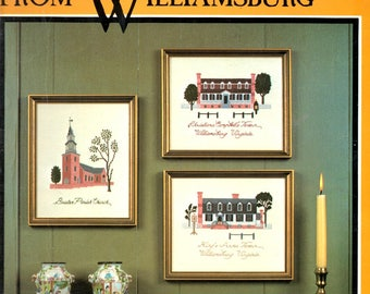 Cross Stitch Designs from Williamsburg Burton Church Kings Arms Tavern Capitol Governor's Palace Counted Embroidery Craft Pattern Leaflet