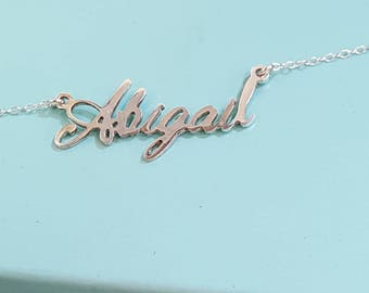 Silver name necklace, custom name necklace, cursive name necklace, sterling silver name necklace, necklace with name